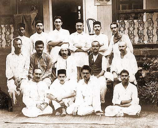 Meher Baba with his early disciples at Manzil-e-Meem in Bombay in 1922
